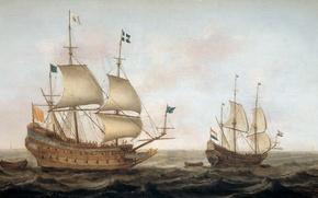 Картинка масло, картина, парус, морской пейзаж, Военный Корабль Направляется в Голландскую Гавань, Jacob Gerritz Loef