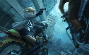 Картинка девушка, пистолет, Charlize Theron, погоня, мотоцикл, шлем, bike, art, Lorraine Broughton, Atomic Blonde