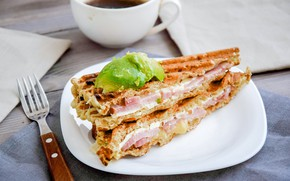 Картинка кофе, мясо, бутерброд
