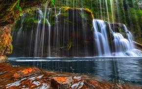 Картинка деревья, озеро, камни, скалы, водопад, поток, США, штат Вашингтон, Скамейния