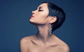 Картинка украшения, лицо, стиль, фон, портрет, серьги, макияж, брюнетка, прическа, профиль, красотка