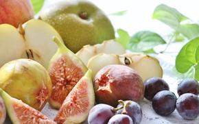 Картинка яблоко, виноград, Фрукты, инжир