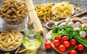Картинка зелень, грибы, масло, помидоры, макароны