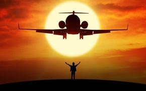 Обои высота, турбореактивный, силуэт, полет, боке, wallpaper., beautiful background, airplane, самолет, человек свобода, планета без предрассудков, ...