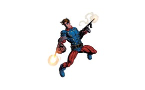 Обои костюм, супергерой, автоматы, огонь