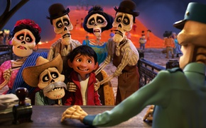 Картинка Pixar, hat, eyes, boy, Coco, animated film, bones, animated movie, skull and bones, sull
