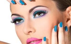 Обои model, lips, nails, make up