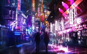 Картинка свет, ночь, огни, улица, вывеска, neon