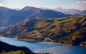 Картинка горы, природа, озеро, Франция, Savines le Lac, Lac de Serre-Ponçon