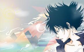Картинка аниме, арт, парень, Katekyo Hitman REBORN!, Hibari Kyoya