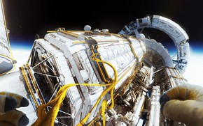 Картинка космос, провода, звёзды, аппарат, Kronos 1 - EVA 2