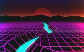 Картинка Солнце, Горы, Музыка, Река, Неон, Фон, Retro, Synthpop, VHS, Darkwave, Synth, Retrowave, Synthwave, Synth pop
