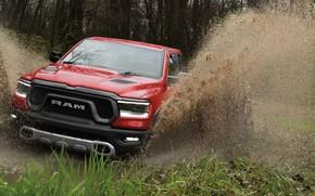 Картинка брызги, грязь, Dodge, бездорожье, пикап, 1500, Ram, 2019, Rebel Quad Cab