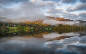 Картинка осень, горы, туман, озеро, Англия, Камбрия
