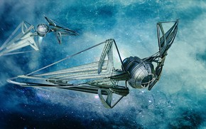 Картинка космос, транспорт, звёзды, аппарат, TIE predator class stempunked fantasy
