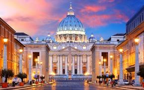 Картинка city, город, Рим, Италия, Italy, Cathedral, square, panorama, Europe, view, Rome, travel, Vatican, basilica