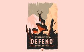 Картинка Горы, Игра, Лес, Олень, Плакат, Campo Santo, Firewatch, Пожарный дозор, Defend our frontier, Bravery the …