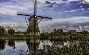 Картинка Голландия, канал, Нидерлпнды, мельница