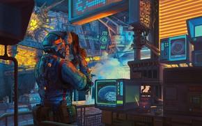 Картинка приборы, монитор, лаборатория, Retro Lab Scifi