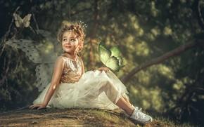 Картинка бабочки, природа, кеды, платье, фея, девочка, наряд, крылышки, ребёнок, фейри, Aleksandr Myshkevich