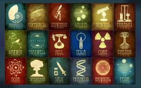 Картинка pioneer, bell, discovery, science, tesla, franklin, copernicus, tyson, faraday, bohr, einstein, curie, newton, darwin, galilei, …