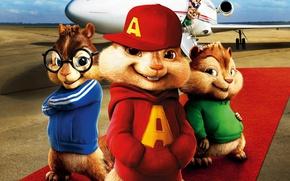 Картинка cinema, airport, movie, jet, film, animated film, animated movie, Alvin and the Chipmunks