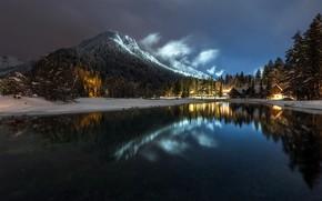 Картинка горы, ночь, озеро