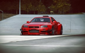 Картинка дизайн, автомобиль, scifi, V12 R34-GTR, red-dirty