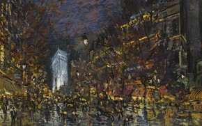 Картинка картина, городской пейзаж, Константин Коровин, Вид Парижа Ночью