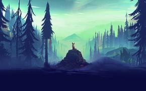 Картинка forest, fox, trees, landscape, nature, rocks, animal, artist, digital art, horizon, mist, illustration, pine, pine …