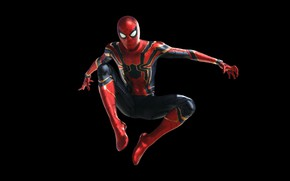 Обои костюм, фантастика, Мстители: Война бесконечности, Spider Man, MARVEL, черный фон, Человек - паук, Peter Parker, ...
