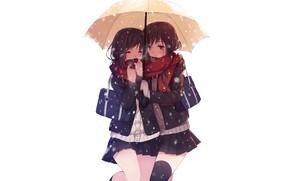 Картинка девушки, девочки, зонт, аниме, белый фон