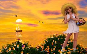 Картинка девушка, закат, цветы