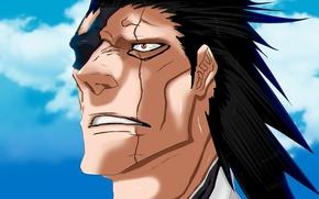 Картинка demon, game, Bleach, sky, anime, cloud, face, hero, manga, japanese, god, oriental, powerful, Zaraki Kenpachi, …