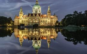 Картинка пейзаж, ночь, огни, пруд, парк, Германия, Ганновер, новая ратуша