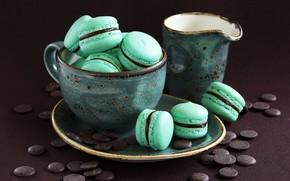 Картинка шоколад, colorful, печенье, чашка, десерт, sweet, dessert, cookies, macaron, макарун