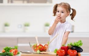 Картинка ребенок, кухня, девочка, овощи, child, салат, tomatoes, vegetables, little girls