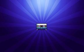 Картинка лучи, минимализм, blue, кассета, аудиокассета, cassette, фон синий, audiocassette, scumbria