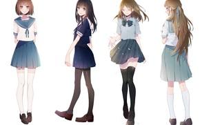 Картинка стиль, Девушки, аниме, Белый фон