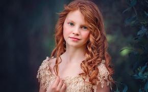 Обои Edie Layland, рыжая, Blue Ginger, боке, девочка, портрет