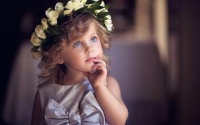 Картинка взгляд, ребенок, платье, девочка, бант, венок, малышка, розы белые