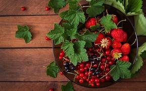 Картинка листья, ягоды, корзина, клубника, смородина
