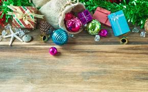 Картинка украшения, праздник, игрушки, новый год, морская звезда, мешок