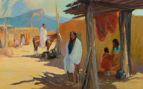 Картинка Taos Pueblo, Oscar Edmund Berninghaus, Morning Shade
