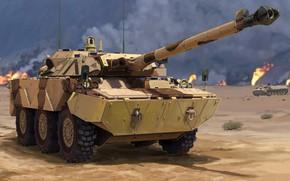 Обои Франция, истребитель танков, Gulf War, AMX-10RC, французский тяжёлый бронеавтомобиль, Satory Military Vehicles, колесный танк, FRENCH ...