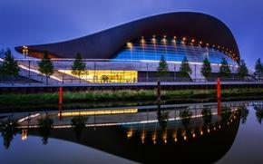 Картинка ночь, огни, Англия, Лондон, Олимпийский парк