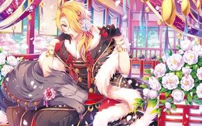 Картинка цветы, аниме, арт, парень, Touken ranbu