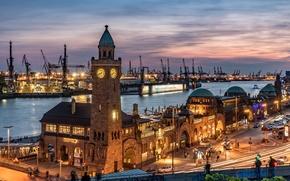 Картинка ночь, башня, огни, порт, Гамбург, Германия, дома, кран
