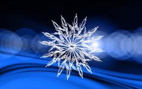 Картинка зима, синий фон, снежинка