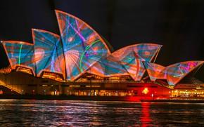 Картинка море, вода, свет, ночь, оранжевый, абстракция, город, огни, блики, голубой, узор, здание, цвет, освещение, Австралия, …